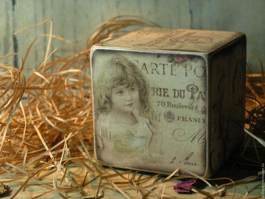 Персональные подарки ручной работы. Ярмарка Мастеров - ручная работа. Купить Винтаж Париж- кубик интерьерный для души и уюта. Handmade.