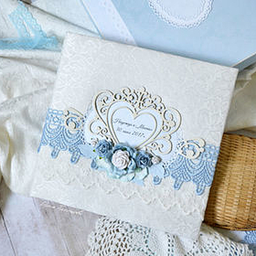 """Свадебный салон ручной работы. Ярмарка Мастеров - ручная работа Свадебный фотоальбом """"Голубая нежность"""", подарок на свадьбу. Handmade."""
