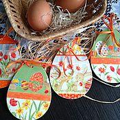 Подарки к праздникам ручной работы. Ярмарка Мастеров - ручная работа Пасхальная подвеска - панно - магнит декупаж Пасхальные яйца. Handmade.