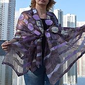 Аксессуары handmade. Livemaster - original item Felted scarf with lilac pattern silk scarf Cape on the dress. Handmade.