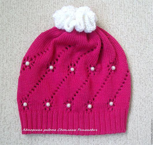 Шапки и шарфы ручной работы. Ярмарка Мастеров - ручная работа. Купить Вязаная шапочка из хлопка для девочки. Handmade. Фуксия