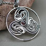 Украшения handmade. Livemaster - original item Triskele - Silver pendant with garnet, Celtic inspired, Wire work art. Handmade.