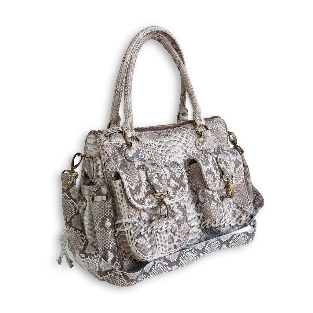 Women's bag made of Python. Tote bag from Python. Stylish bag with pockets. Handy bag made of Python. Fashionable bag made of Python. Beautiful pimonova bag custom. Bag long shoulder strap.