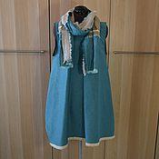 Одежда ручной работы. Ярмарка Мастеров - ручная работа №186 Льняная блузка-жилет с шарфом. Handmade.