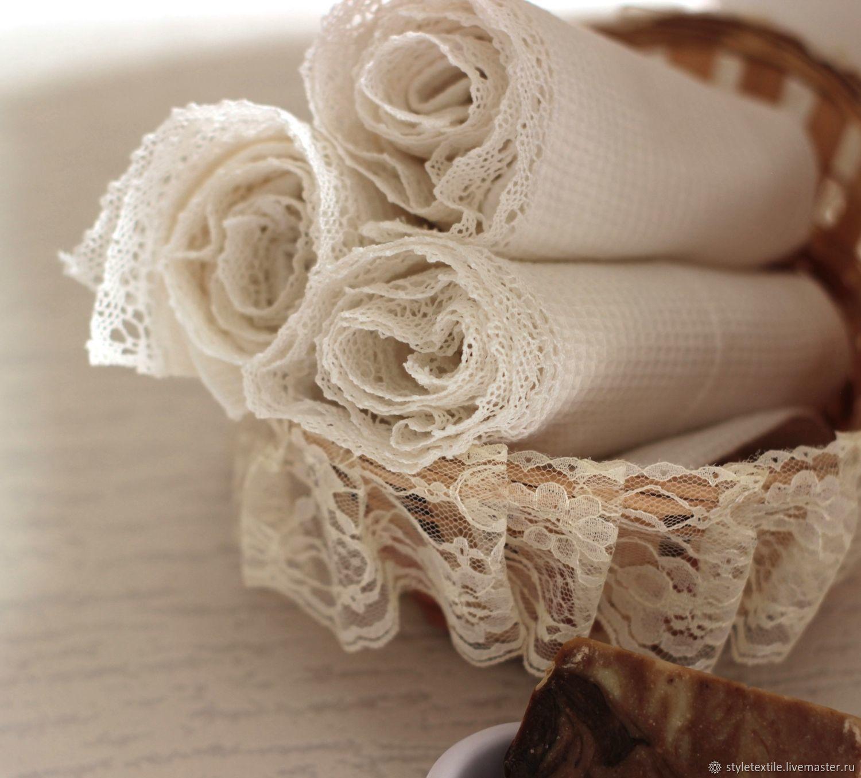Полотенца вафельные с кружевом, Полотенца, Волгодонск,  Фото №1