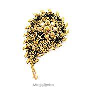 Украшения ручной работы. Ярмарка Мастеров - ручная работа Брошь Сати, вышивка золотом, пейсли. Handmade.