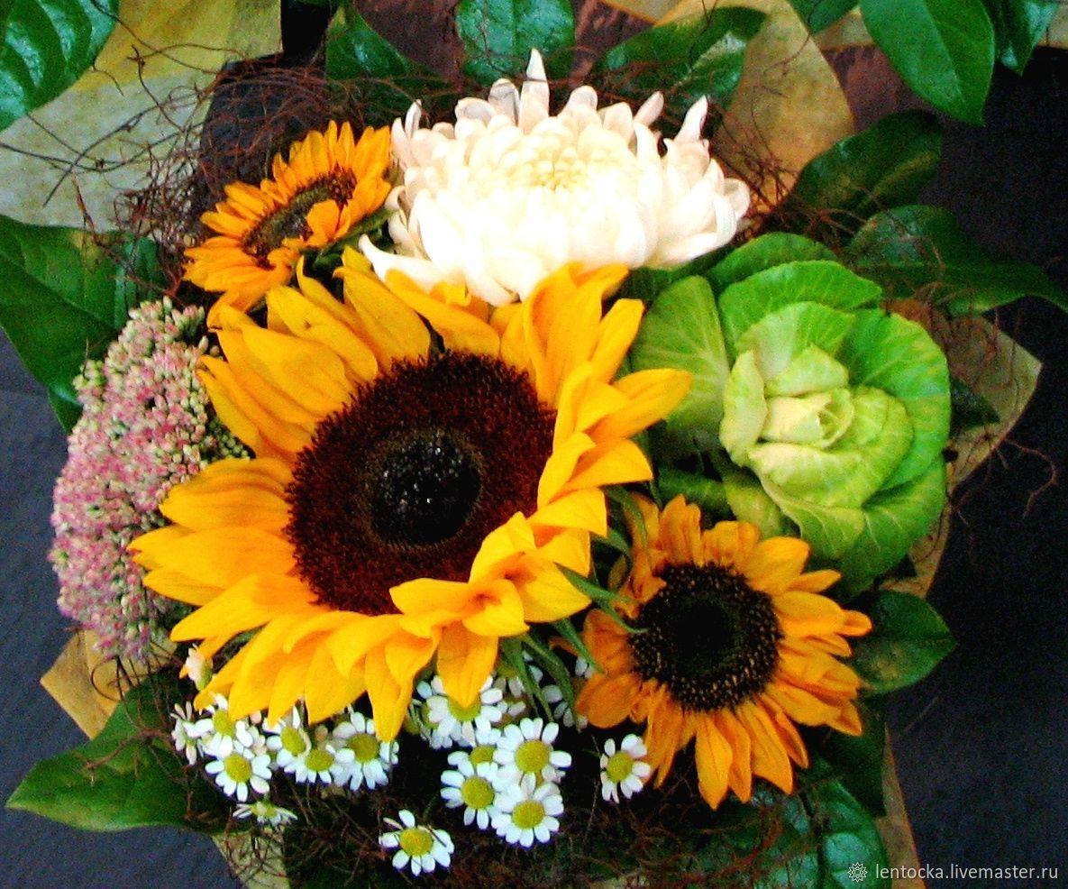 """Букеты на День Учителя """"В школу"""" 3 размера.Живые цветы, Букеты, Москва, Фото №1"""