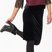 Одежда handmade. Livemaster - original item Black mini skirt from knitted velvet (art. 5063). Handmade.