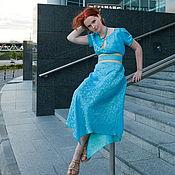 Одежда ручной работы. Ярмарка Мастеров - ручная работа Платье шелковое бирюзовое. Handmade.