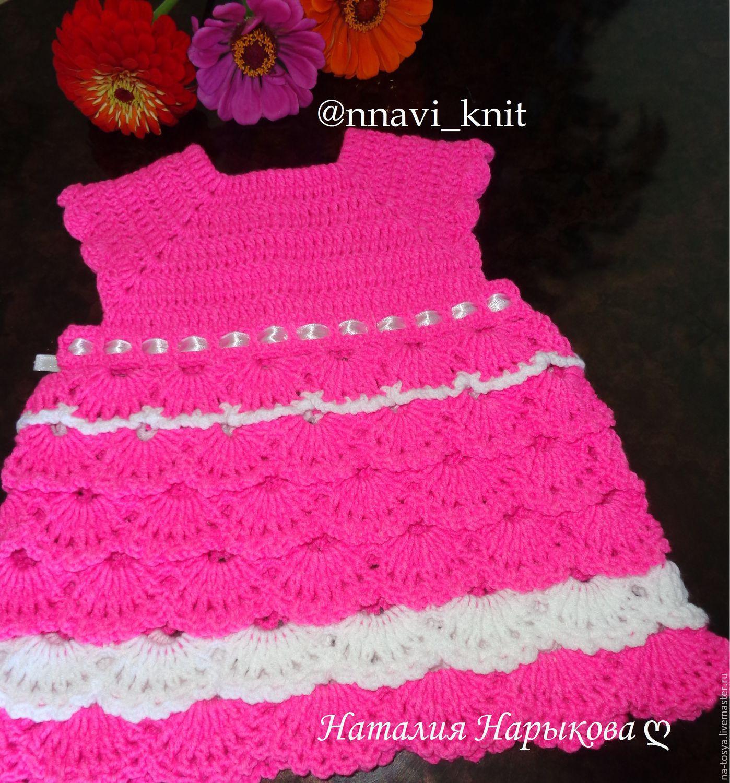 Платье крючком для девочки 6 месяцев фото