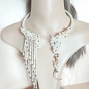 Свадебный салон handmade. Livemaster - original item necklace wedding: Choker Moon flower necklace. Handmade.