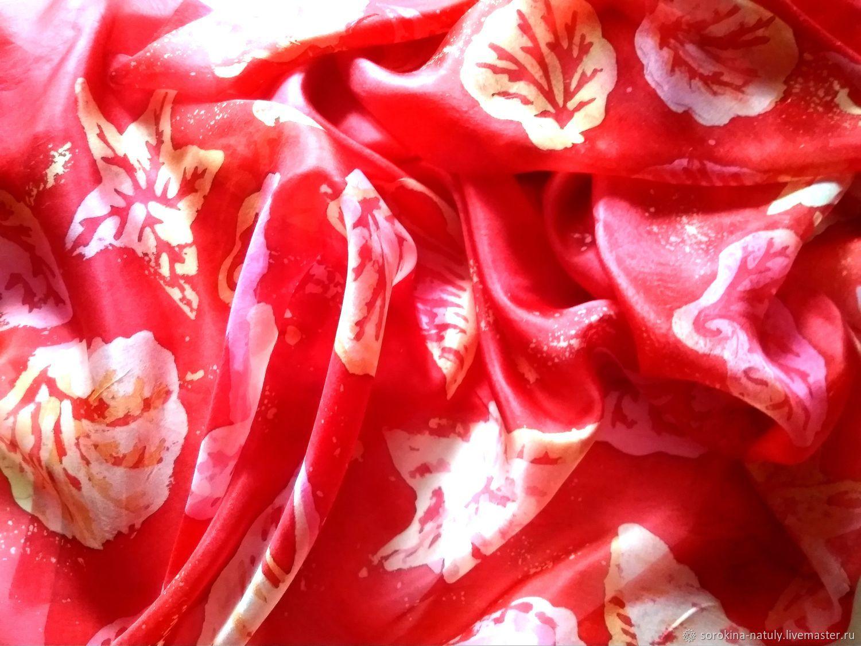 Scarlet red Pareo for the beach, Sea Sun Sand Summer Shells silk natural fashion Beach Batik Handmade Stole, batik gifts for women beach wear Beach wear for the Beach season sea silk.