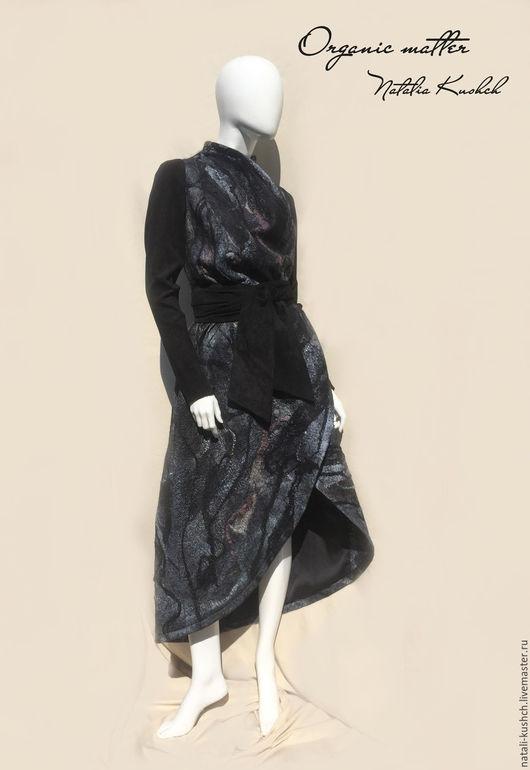 Верхняя одежда ручной работы. Ярмарка Мастеров - ручная работа. Купить Пальто в технике нуновойлок. Handmade. Черный