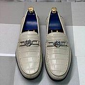 Обувь ручной работы handmade. Livemaster - original item Moccasins made of genuine crocodile leather, in beige color!. Handmade.
