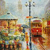 """Картины и панно ручной работы. Ярмарка Мастеров - ручная работа картина """"Красный трамвай"""". Handmade."""