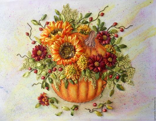 """Картины цветов ручной работы. Ярмарка Мастеров - ручная работа. Купить Осенний натюрморт """" Цветы в тыкве"""". Handmade. Комбинированный"""