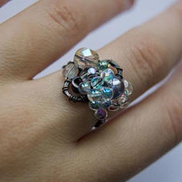 """Украшения ручной работы. Ярмарка Мастеров - ручная работа Медное кольцо """"Разноцветные кристаллы"""" (необычные кольца). Handmade."""