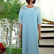 Одежда handmade. Livemaster - original item Linen summer dress with lace