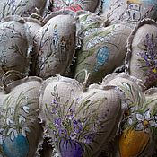 Подарки к праздникам handmade. Livemaster - original item Linen hearts with painting... happy easter.... Handmade.