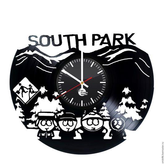 """Часы для дома ручной работы. Ярмарка Мастеров - ручная работа. Купить Часы из пластинки """"Южный парк"""". Handmade. Комбинированный"""