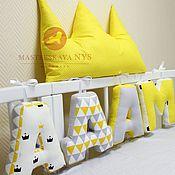 Комплекты одежды ручной работы. Ярмарка Мастеров - ручная работа Буквы подушки желто-серые для мальчика с короной. Handmade.