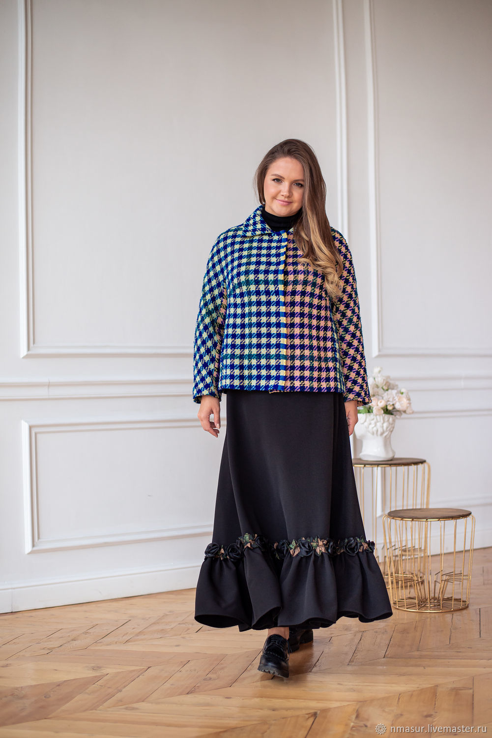 A chic boho skirt is black to the floor on a crepe yoke, Skirts, Novosibirsk,  Фото №1