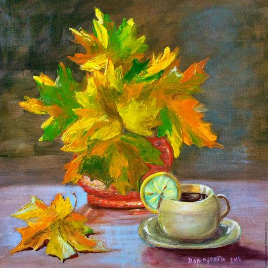 Натюрморт ручной работы. Ярмарка Мастеров - ручная работа. Купить Осенний кофе с лимоном (акрил). Handmade. Оранжевый, листья клена