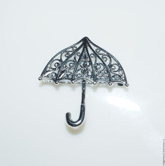 """Для украшений ручной работы. Ярмарка Мастеров - ручная работа. Купить Основа для броши """"Зонтик"""" - мельхиор сверху серебро 925 пробы. Handmade."""