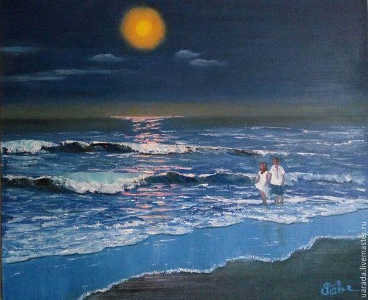 """Пейзаж ручной работы. Ярмарка Мастеров - ручная работа. Купить """"Лунный мотив""""- картина маслом.. Handmade. Синий, лунная ночь"""