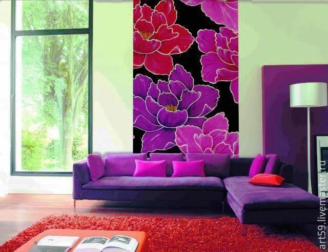 Flower Paintings handmade. Livemaster - handmade. Buy The big Picture-panel 'Flowers'.Handmade jewelry, colorful, interior decoration