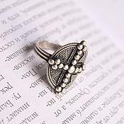 Украшения ручной работы. Ярмарка Мастеров - ручная работа Серебряное кольцо овальное с зернью, серебро 925, ручная работа. Handmade.