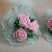 Работы для детей, handmade. Livemaster - original item Mint clip with pink roses. Handmade.