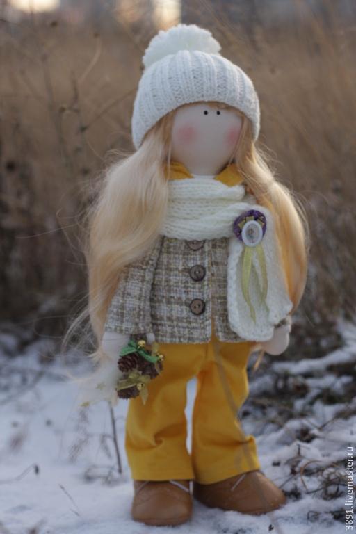 Куклы тыквоголовки ручной работы. Ярмарка Мастеров - ручная работа. Купить Linsi. Handmade. Желтый, кукла интерьерная, подарок подруге