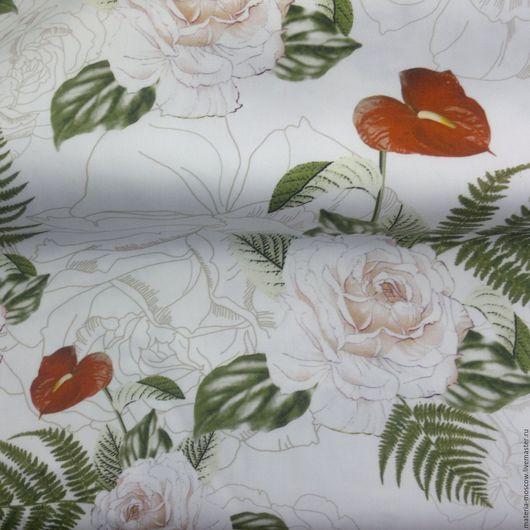 """Шитье ручной работы. Ярмарка Мастеров - ручная работа. Купить Хлопок стретч """"Розы,калы"""". Handmade. Комбинированный, ткани для одежды"""