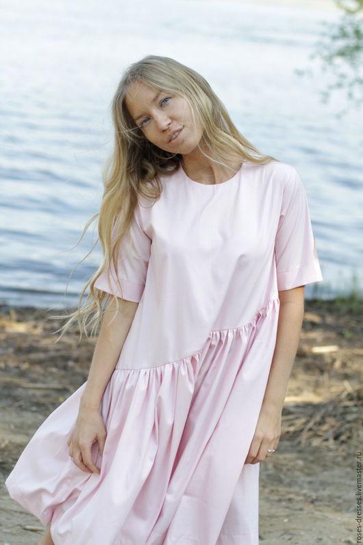 Платья ручной работы. Ярмарка Мастеров - ручная работа. Купить Платье свободного кроя. Handmade. Однотонный, нежный цвет
