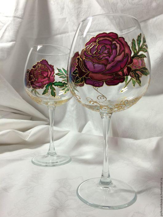 """Бокалы, стаканы ручной работы. Ярмарка Мастеров - ручная работа. Купить Бокал для вина """"Пионы"""" большой. Handmade. Розовый, для девушки, handmade"""