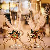 """Свадебный салон ручной работы. Ярмарка Мастеров - ручная работа Свадебные бокалы """"Осень"""". Handmade."""