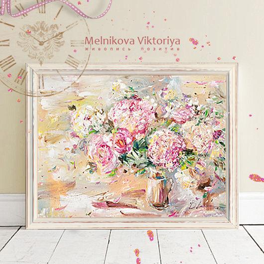 Картина маслом `Аромат жасмина в натюрморте с гортензией `  50/70 см холст на картоне