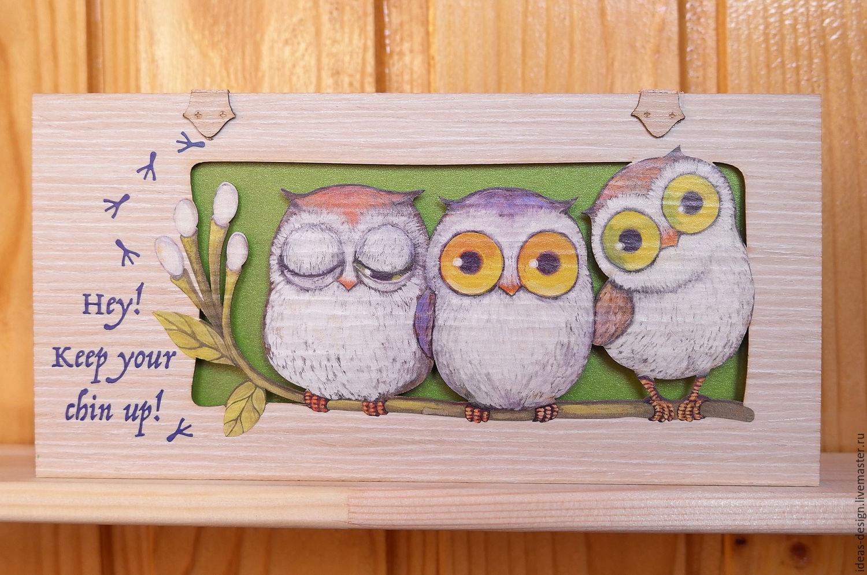 Как сделать открытку сову с совенком