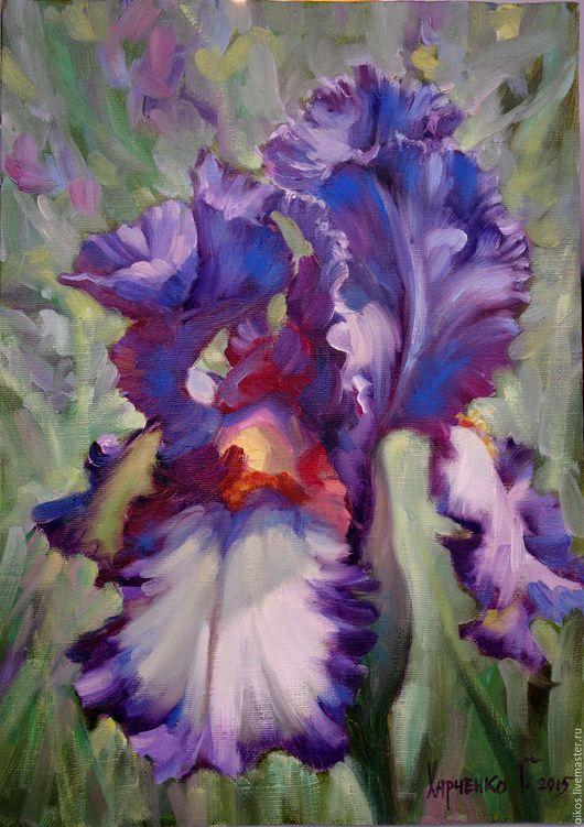 Картины цветов ручной работы. Ярмарка Мастеров - ручная работа. Купить Не дорого подарок женщине картина маслом с фиолетовым ирисом. Handmade.