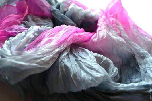 Шарфы и шарфики ручной работы. Ярмарка Мастеров - ручная работа. Купить серо розовый шелковый шарф ручная окраска, натуральный шёлк. Handmade.