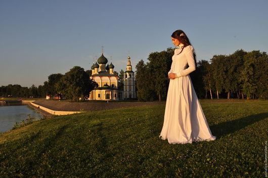 """Платья ручной работы. Ярмарка Мастеров - ручная работа. Купить Платье стилизованное в стиле Эдвардианской эпохи """"Поэзия 4"""" Белый лист. Handmade."""