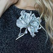 Украшения handmade. Livemaster - original item Brooch-boutonniere of White rose skin. the decoration of leather.. Handmade.