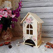 Для дома и интерьера ручной работы. Ярмарка Мастеров - ручная работа Чайный домик «Розовый вальс» - декупаж для дома чайная шкатулка винтаж. Handmade.