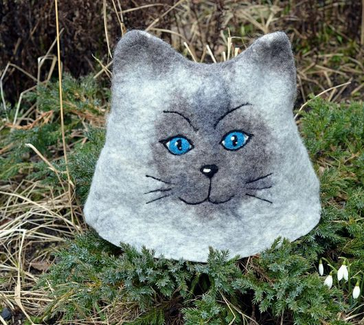 Банные принадлежности ручной работы. Ярмарка Мастеров - ручная работа. Купить Сиамская кошка, банная шапка. Handmade. Банная шапка