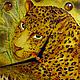 Часы для дома ручной работы. Часы настенные стеклянные с витражной росписью Золотой леопард. Элеонора Саунина (Ella-handmade). Интернет-магазин Ярмарка Мастеров.