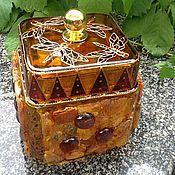 Для дома и интерьера ручной работы. Ярмарка Мастеров - ручная работа Шкатулка янтарная. Handmade.