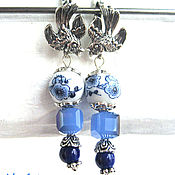 Украшения handmade. Livemaster - original item Earrings porcelain painted with magic,changing the color of the crystal)))). Handmade.