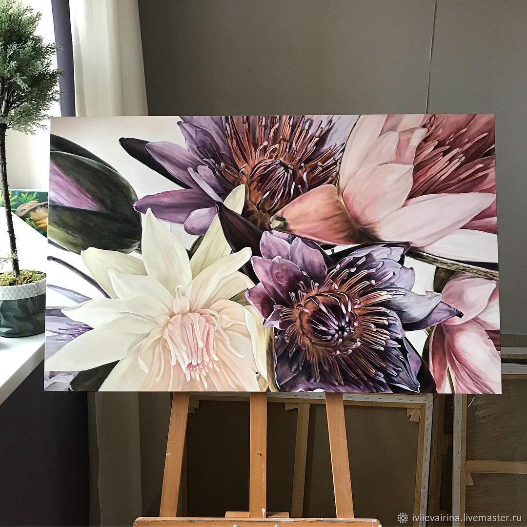 Flower Paintings Handmade Livemaster Oil Painting Violet 65h105 Cm Dark