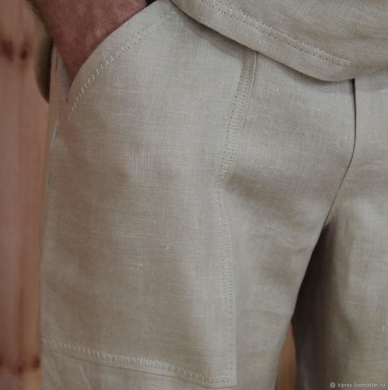 """Мужские льняные брюки """"Светлый беж"""" с накладными карманами, Брюки мужские, Россошь,  Фото №1"""